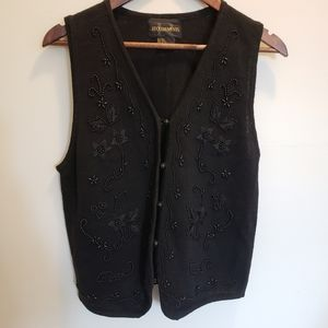 Requirements Black Floral Beaded Sweater Vest